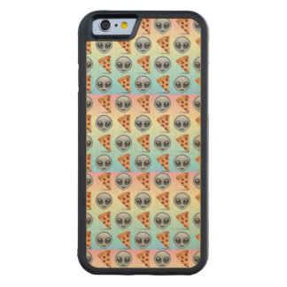 Crazy Aliens & Pizza Emoji Pattern Carved® Maple iPhone 6 Bumper Case