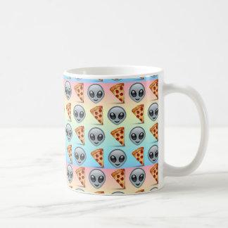 Crazy Aliens & Pizza Emoji Pattern Coffee Mug