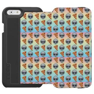 Crazy Aliens & Pizza Emoji Pattern iPhone 6/6s Wallet Case