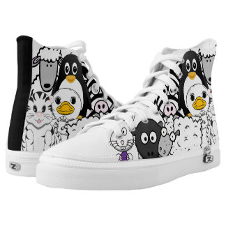 Crazy and Funny Black and White Cartoon Animals Printed Shoes