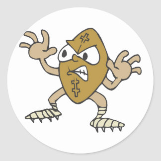 Crazy angry football guy classic round sticker