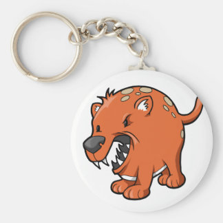 Crazy Angry Rat Dog Button Keychain