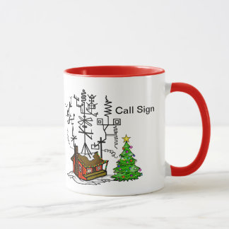 Crazy Antenna House Ham Radio Christmas Mug