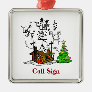 Crazy Antenna House Ham Radio Christmas Ornament