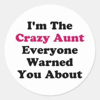 Crazy Aunt Classic Round Sticker