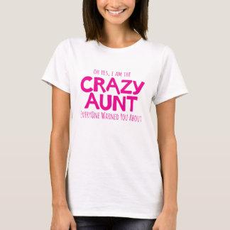 Crazy aunt warning pink typographic slogan t-shirt