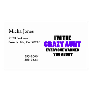 Crazy Aunt You Were Warned About Business Card Template