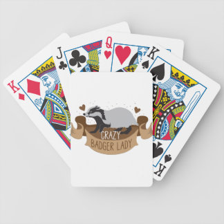 crazy badger lady banner bicycle playing cards