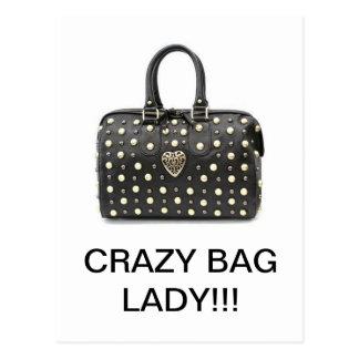 Crazy Bag Lady Comedy/ Fashion Products Postcard
