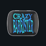 """Crazy Barrister Jelly Belly Tin<br><div class=""""desc"""">This crazy barrister text design is perfect for any barrister that is just a little crazy if not more!</div>"""