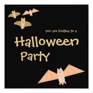 "Crazy Bats Halloween Party Invitation 5.25"" Square Invitation Card"