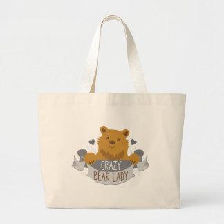 crazy bear lady banner large tote bag