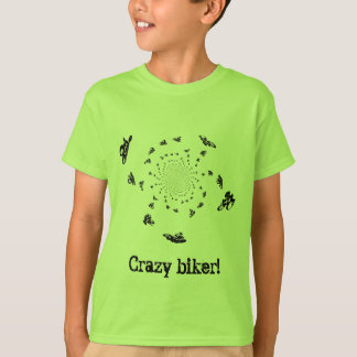 Crazy Biker in a cycling whirl T-Shirt