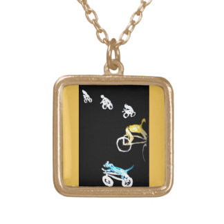 Crazy Bikers in the Dark! Square Pendant Necklace