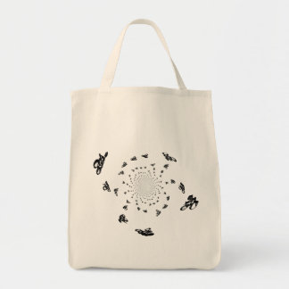 Crazy Bikes in a cycling whirl Grocery Tote Bag