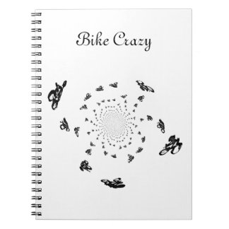 Crazy Bikes in a cycling whirl Spiral Note Books