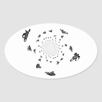 Crazy Bikes in a cycling whirl Oval Sticker