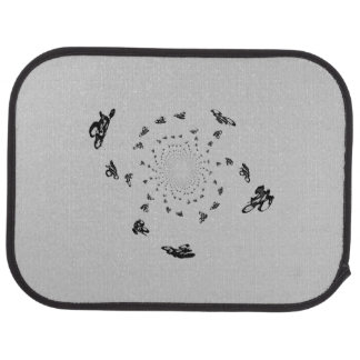 Crazy Bikes in an abstract bike race Car Floor Mat
