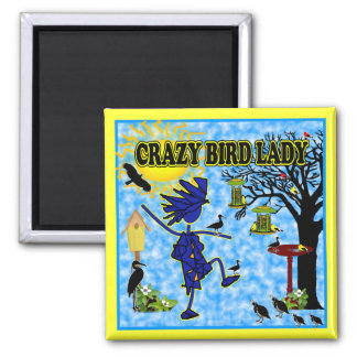 Crazy Bird Lady Design 2 Inch Square Magnet