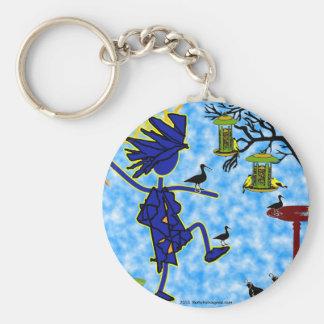 Crazy Bird Lady Design Basic Round Button Keychain
