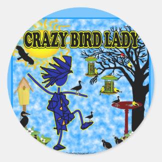 Crazy Bird Lady Design Classic Round Sticker