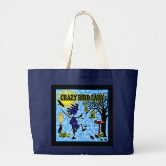 Crazy Bird Lady Design Large Tote Bag