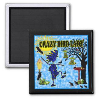 Crazy Bird Lady Design Magnets