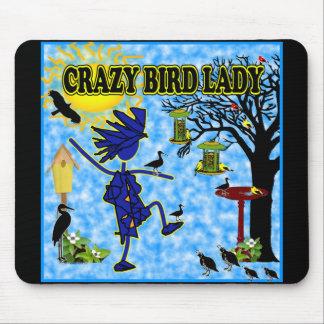 Crazy Bird Lady Design Mousepads
