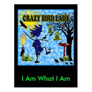 Crazy Bird Lady Design Postcard