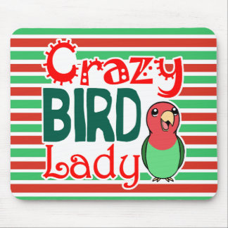 Crazy bird lady mouse pad