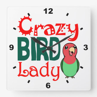 Crazy bird lady square wall clock