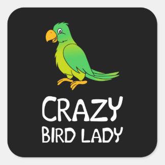 Crazy Bird Lady Square Sticker