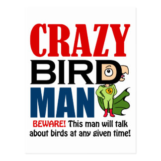 Crazy bird man postcard