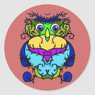 Crazy Bird Owl Classic Round Sticker
