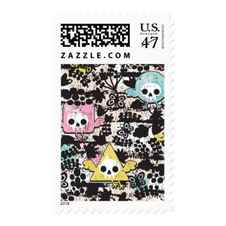 Crazy birds pattern postage