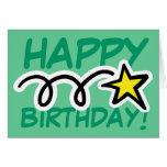 Crazy Birthday Card with yellow star