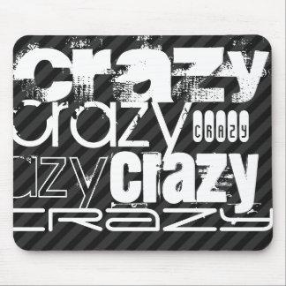 Crazy; Black & Dark Gray Stripes Mouse Pad