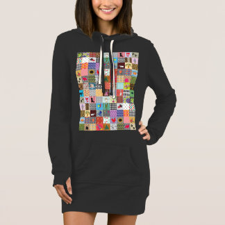 Crazy Block Quilt Quilting Mama Funny Hoodie Dress