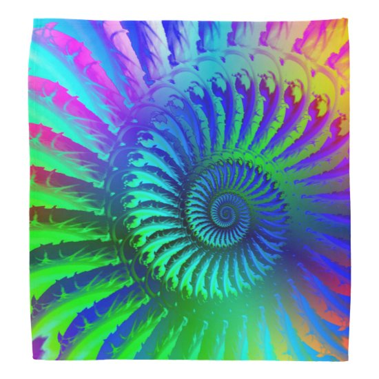 Crazy Blue Fractal Art Pattern Bandana
