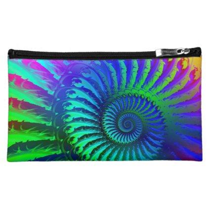 Crazy Blue Fractal Art Pattern Cosmetics Bags