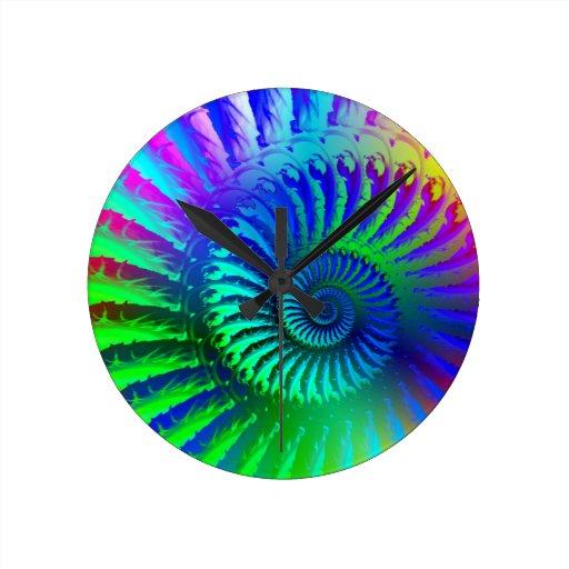 Crazy Blue Fractal Art Pattern Round Wallclock