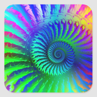 Crazy Blue Fractal Pattern Square Stickers