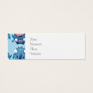 Crazy Blue Monsters Fun Creatures Gifts for Kids Mini Business Card