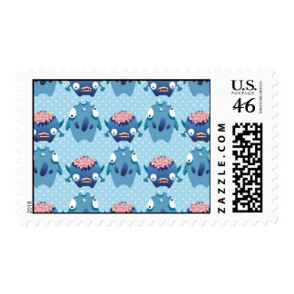 Crazy Blue Monsters Fun Creatures Gifts for Kids Stamp