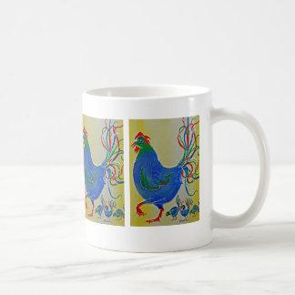 Crazy Blue Mother Hen and Chicks Mug
