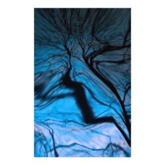 crazy blurred tree, blue stationery