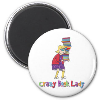 Crazy Book Lady 2 Inch Round Magnet