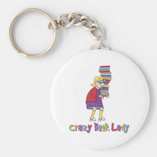 Crazy Book Lady Basic Round Button Keychain