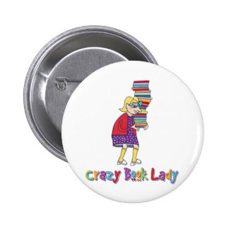 Crazy Book Lady Button