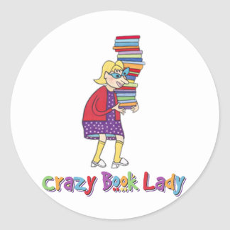 Crazy Book Lady Round Stickers